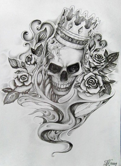 roses and crown skull tattoo design. Black Bedroom Furniture Sets. Home Design Ideas