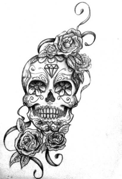Roses And Sugar Skull Tattoo Design