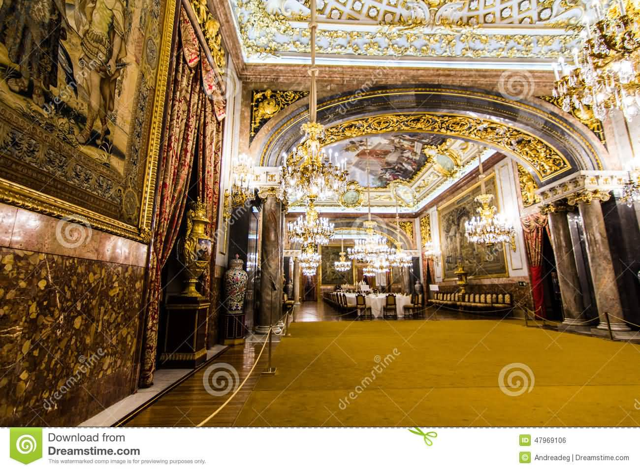 Royal Dining Room Inside The Royal Palace Of Madrid