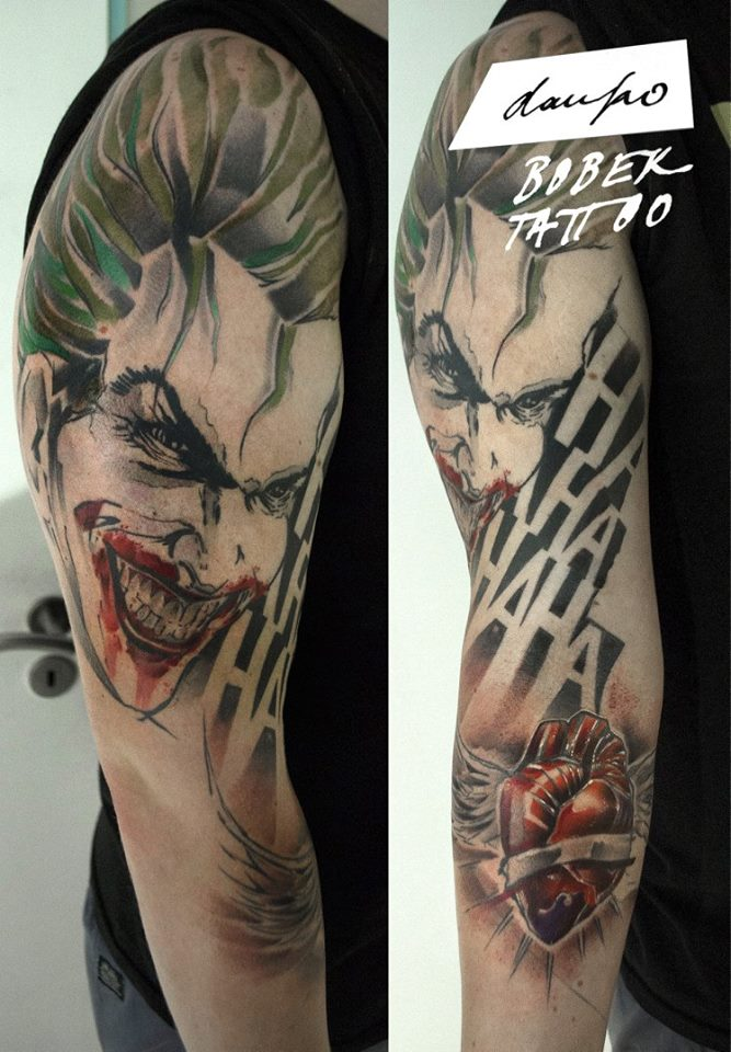 Scary Clown Head With Real Heart Tattoo On Right Full Sleeve