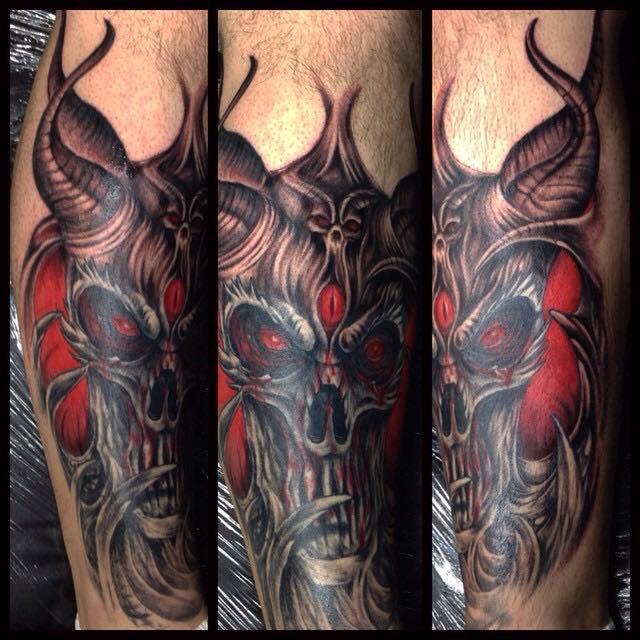 Scary Devil Skull Tattoo On Right Leg