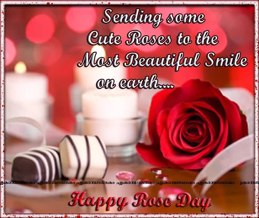 Sending Some Cute Roses To The Most Beautiful Smile On Earth Happy Rose Day