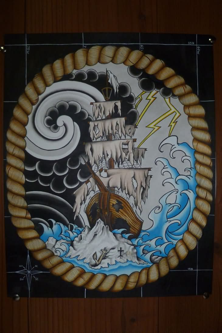 Ship In Frame Tattoo Design