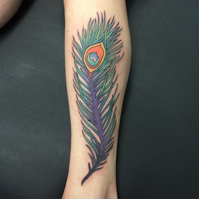 Side Leg Peacock Feather Tattoo Idea