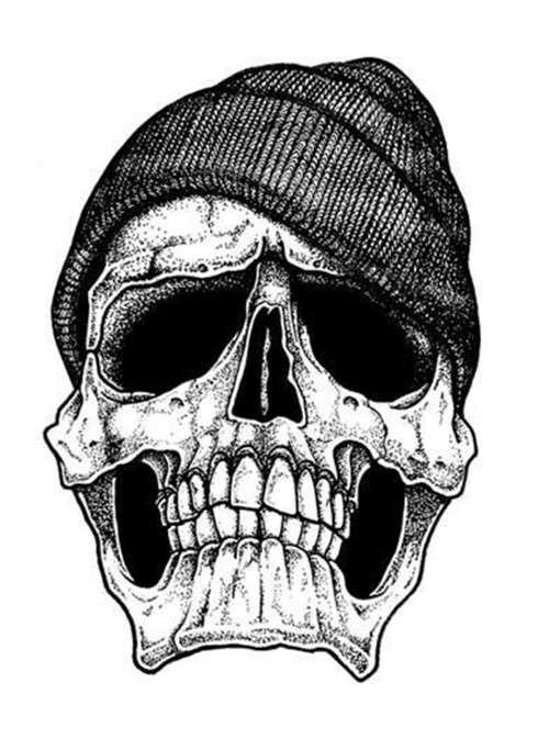 Skull With Cap Tattoo Design