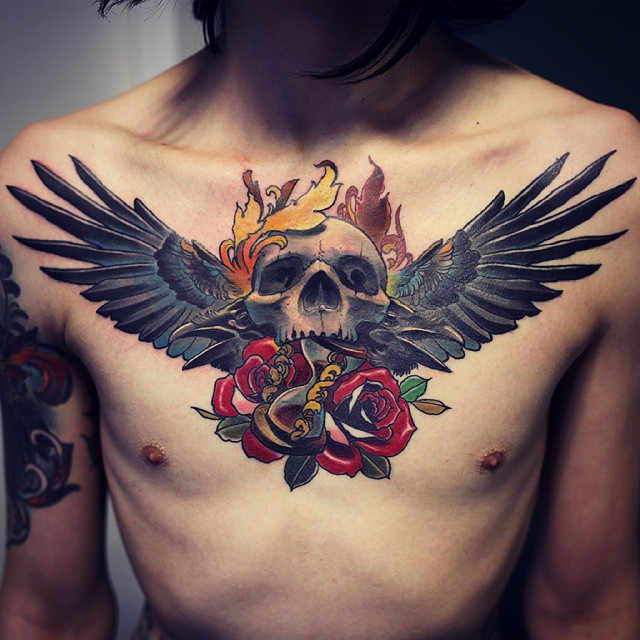 Skull With Red Roses With Angel Wings Tattoo On Chest