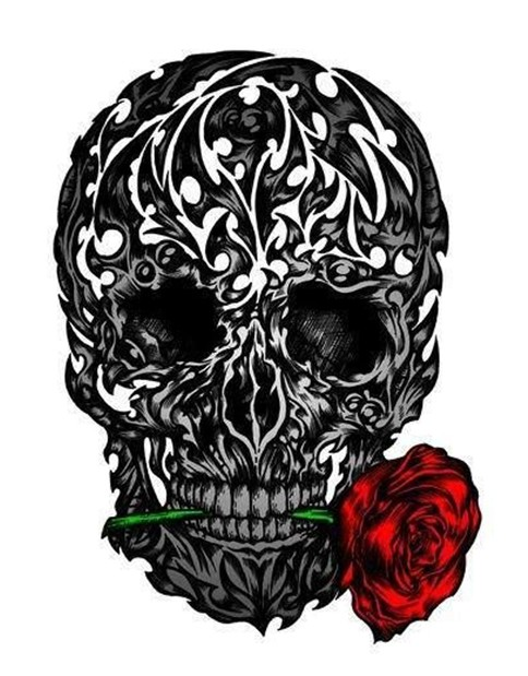 Skull With Rose In Tooth Tattoo Design
