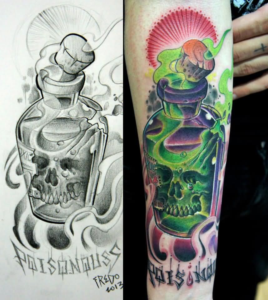 skull in poison bottle tattoo on sleeve. Black Bedroom Furniture Sets. Home Design Ideas