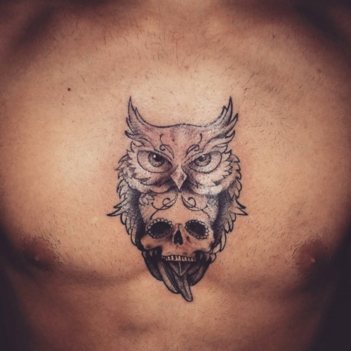Chest Tattoo Owl Skull: Small Owl And Skull Tattoo On Chest