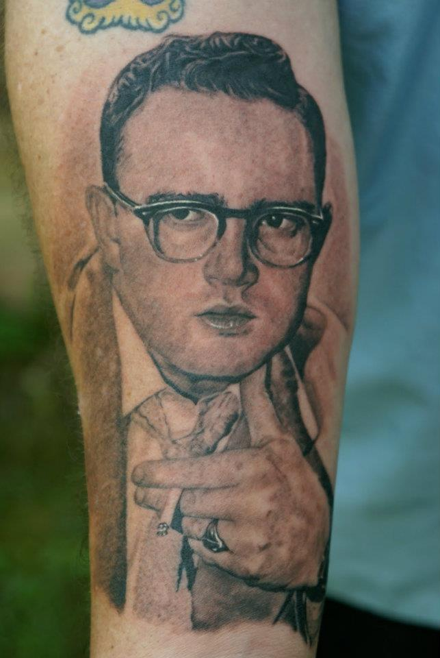 Smoking Man Portrait Tattoo On Forearm