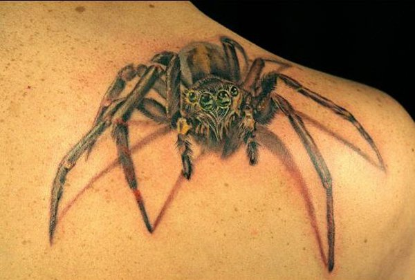 spider tattoo on right back shoulder