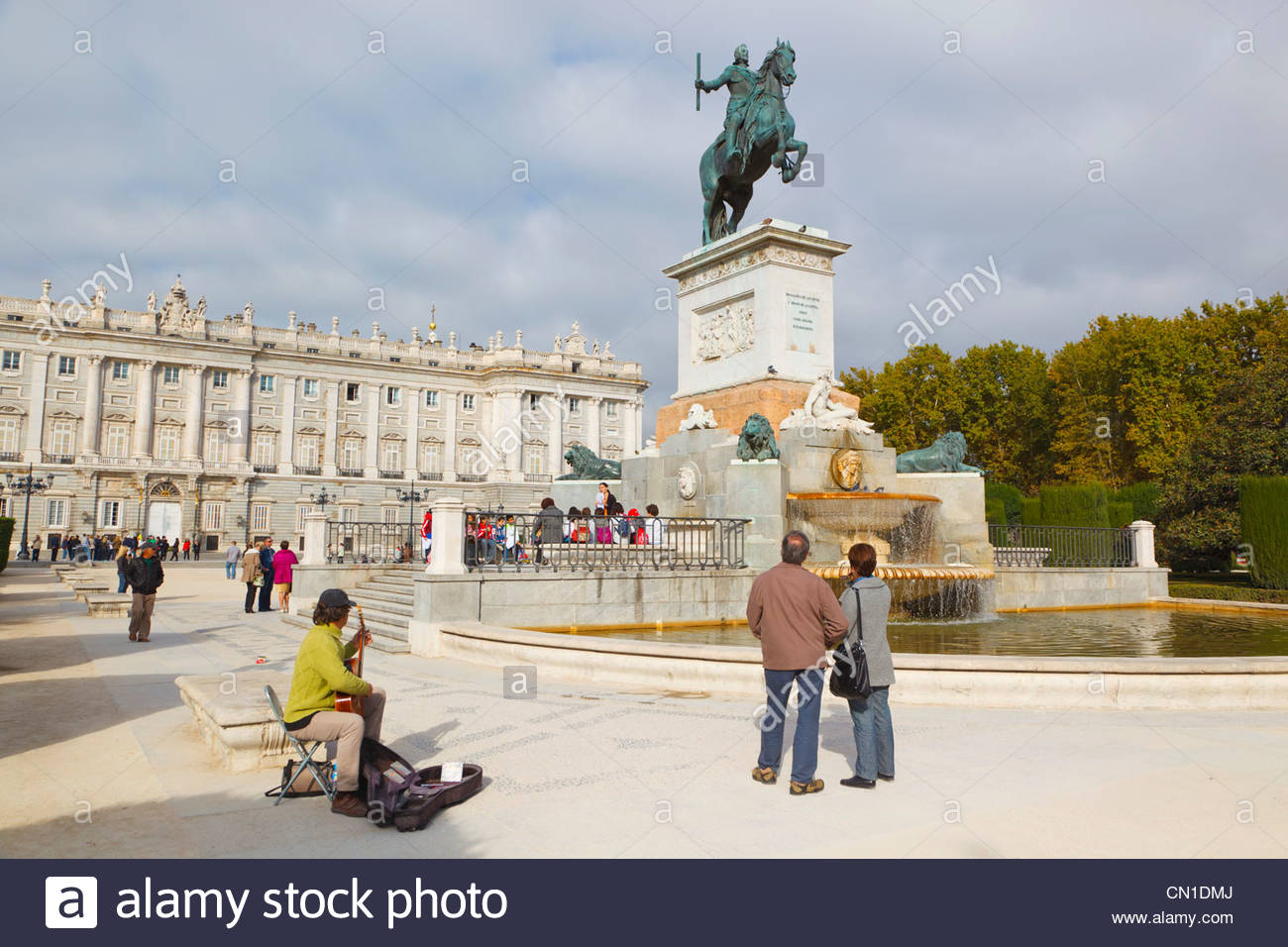 Statue In Front Of Royal Palace Of Madrid