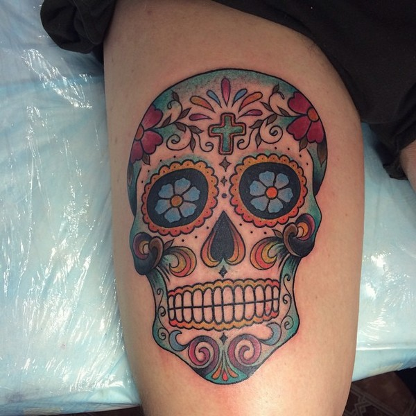 58 unique skull tattoos ideas and designs for Skull leg tattoos