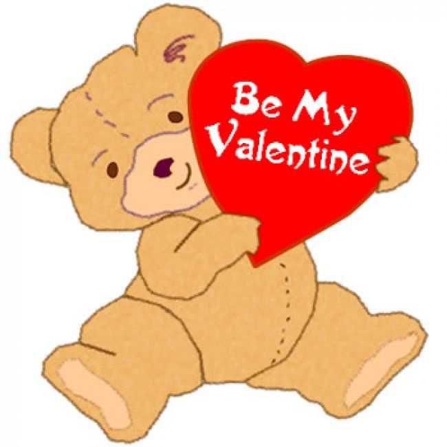 Teddy Bear Says Be My Valentine Clipart