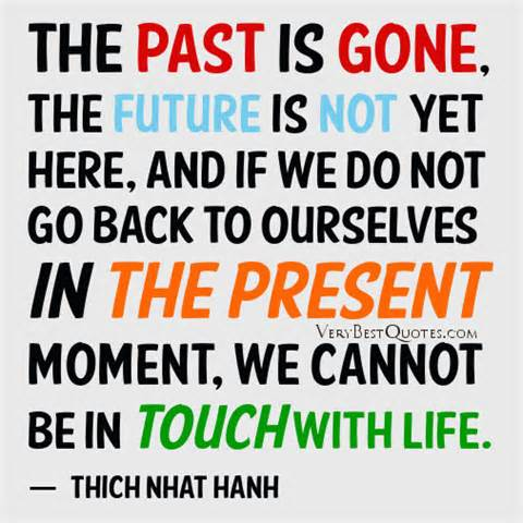 The past is gone, the future is not yet here, and if we do not go back to ourselves in the present moment, we cannot be in touch with life. Thich Nhat Hanh