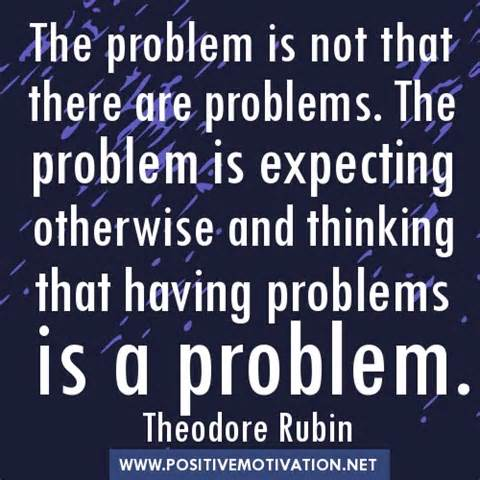 The problem is not that there are problems. The problem is expecting otherwise and thinking that having problems is a problem. Theodore Isaac Rubin
