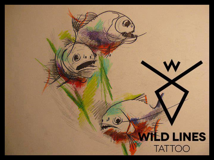 Three Abstract Fishes Tattoo Design