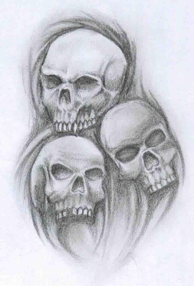 Three Skull Tattoos Designs