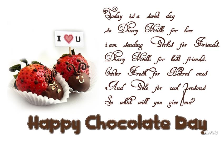 50 happy chocolate day wish pictures and images today is sweet day so dairy milk for love i am sending perks for friends happy m4hsunfo