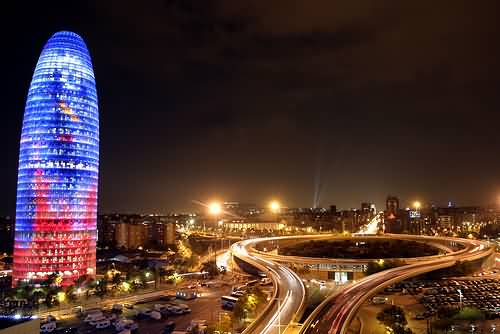 Torre Agbar In Barcelona At Night