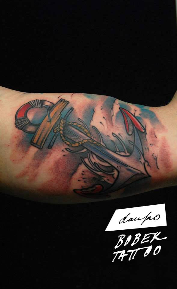 Traditional Anchor Tattoo On Bicep