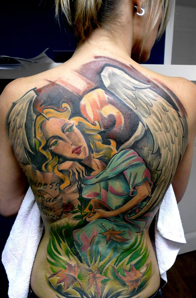 Traditional Angel Tattoo On Women Full Back