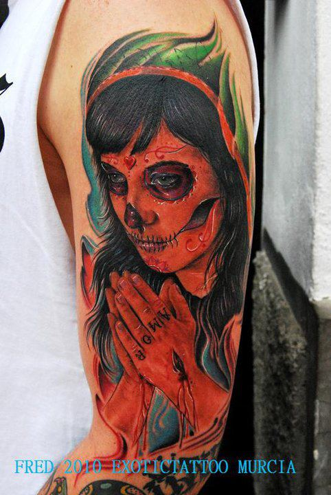 Traditional Dia De Los Muertos Girl Tattoo On Left Half Sleeve