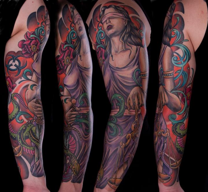 Traditional Goddess Of Justice Tattoo On Left Full Sleeve