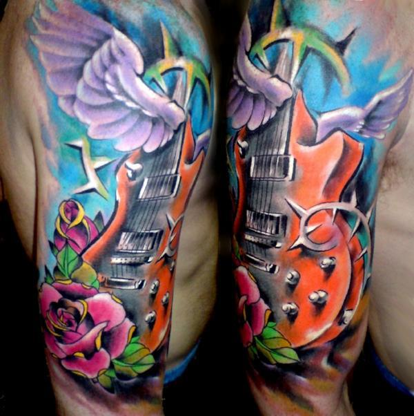 Traditional Guitar With Wing And Roses Tattoo On Man Right Half Sleeve
