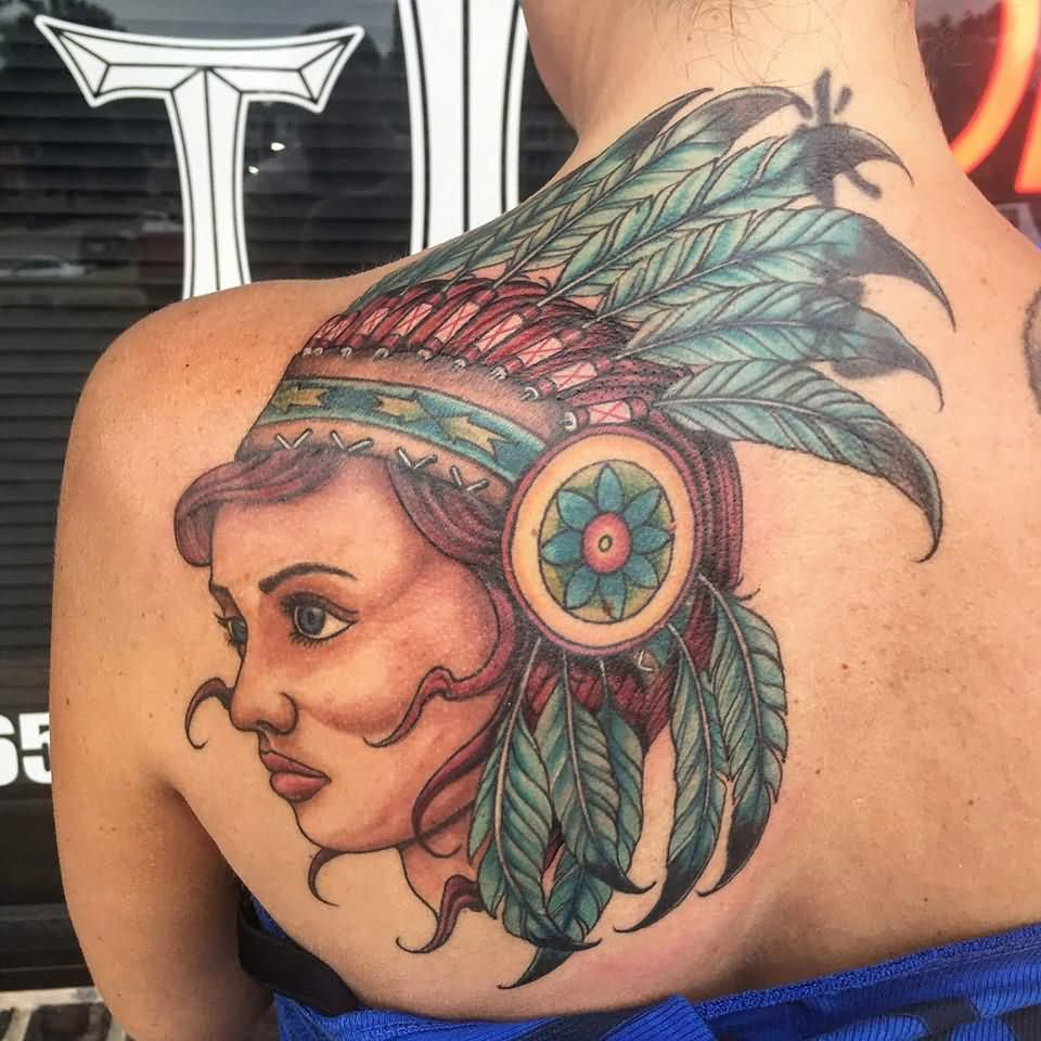 Traditional Indian Native Girl Face Tattoo On Women Left Back Shoulder