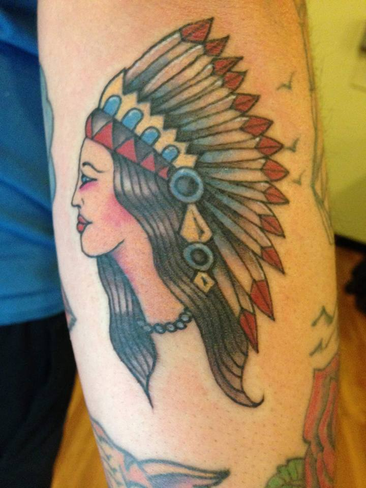 Traditional Native Women Head Tattoo Design For Sleeve