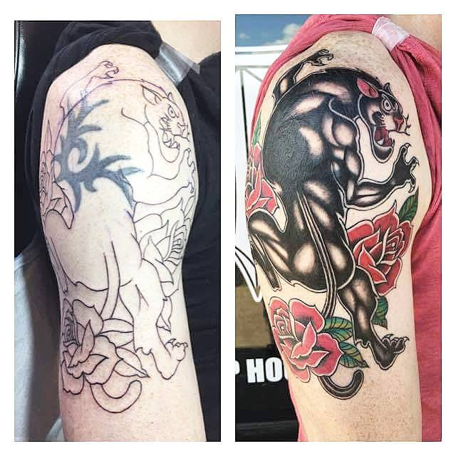 Traditional Panther With Roses Tattoo On Right Half Sleeve