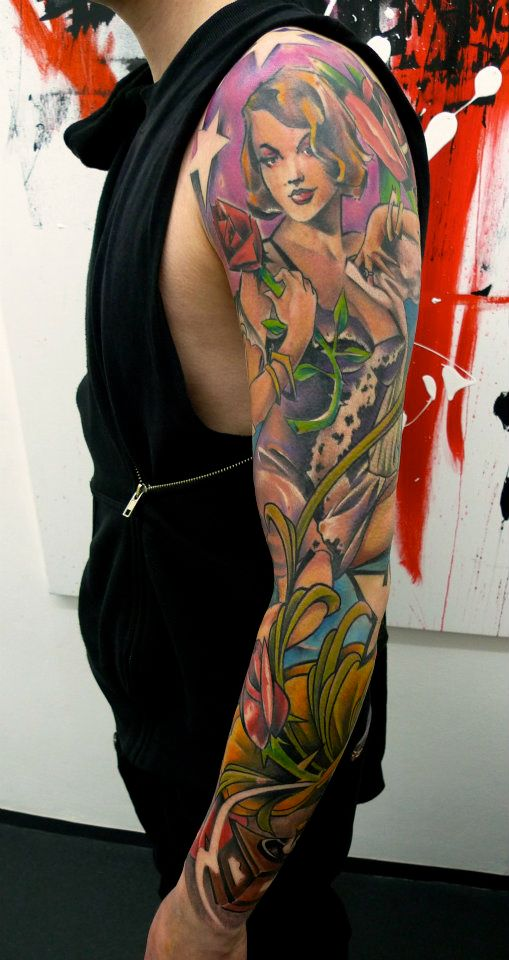 Traditional Pin Up Women With Rose Tattoo On Left Full Sleeve