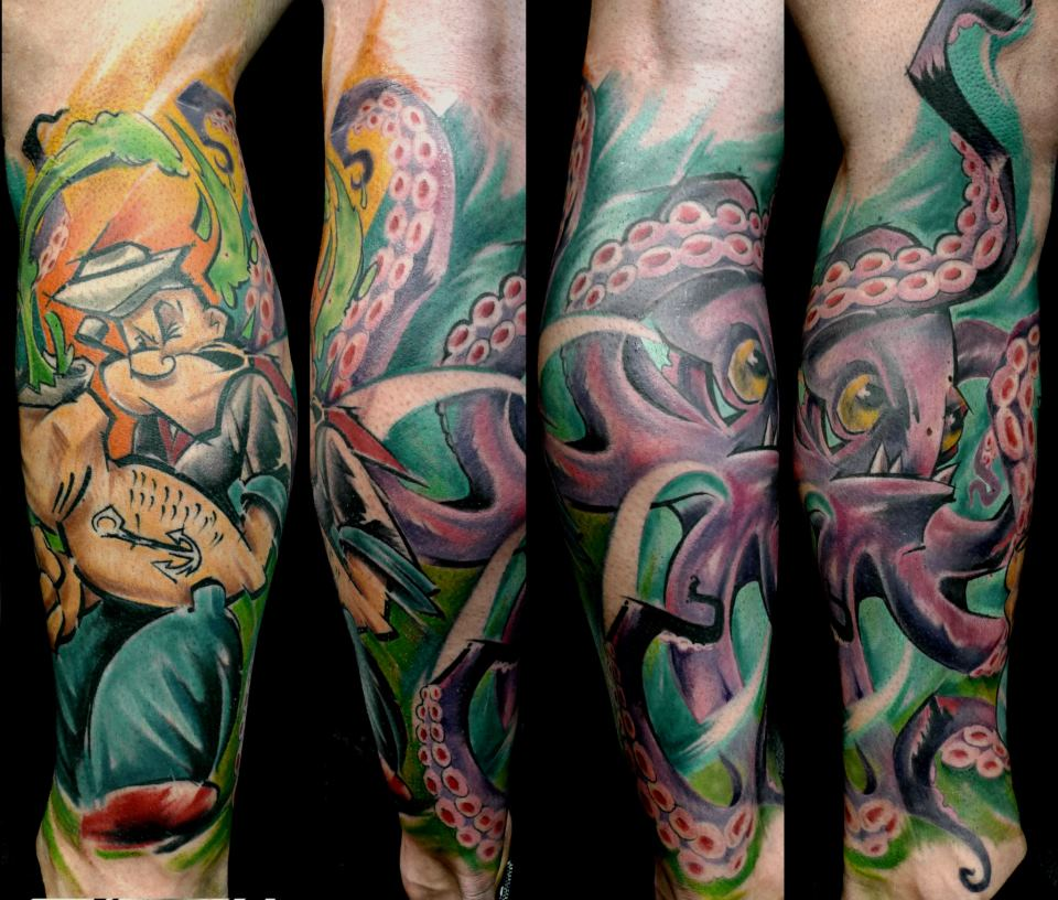 Traditional Popeye With Octopus Tattoo On Leg Calf