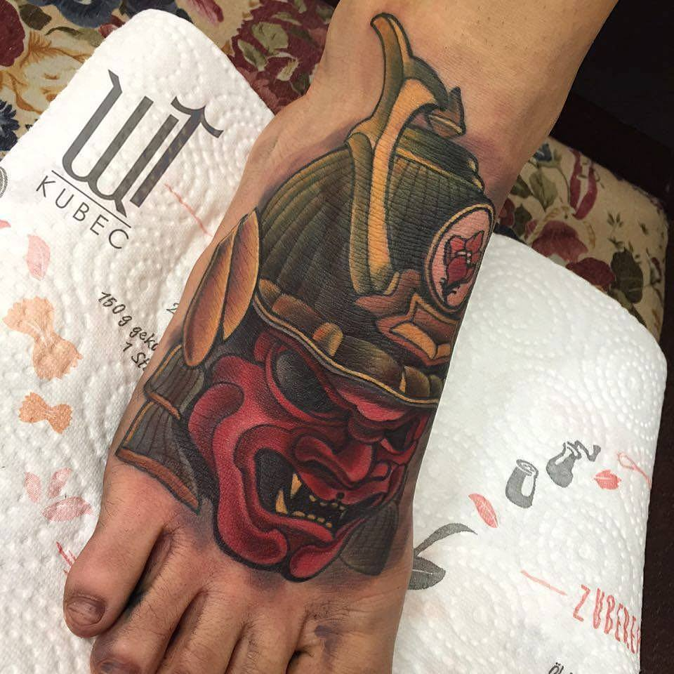 Traditional Samurai Mask Tattoo On Right Foot