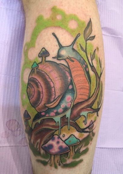 Traditional Snail Tattoo Design For Leg Calf
