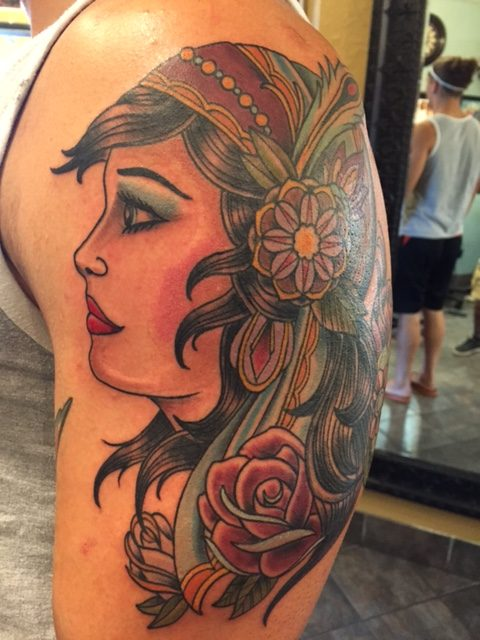7cb215683a8e0 Traditional Women Face With Rose Tattoo On Man Left Half Sleeve