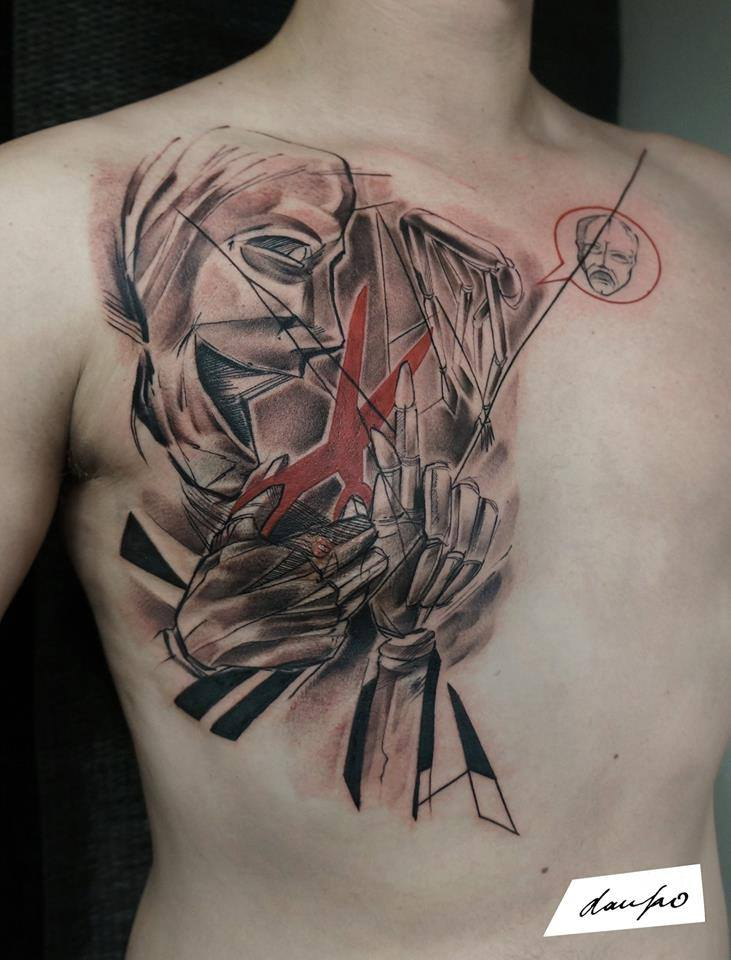 Unique Abstract Man Tattoo On Man Right Chest