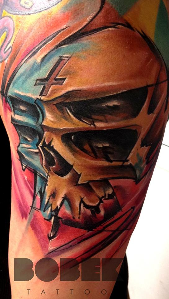 Unique Abstract Skull Tattoo Design For Half Sleeve
