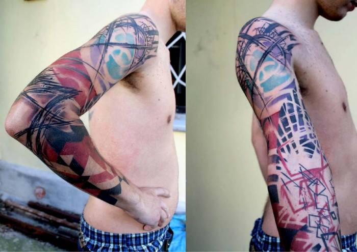 Unique Abstract Tattoo On Man Right Full Sleeve