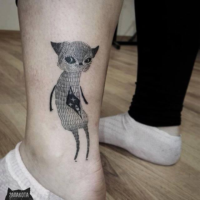 Unique Black Ink Cat Tattoo On Left Leg