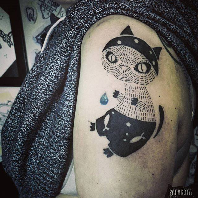 Unique Black Ink Pirate Cat Tattoo On Left Shoulder
