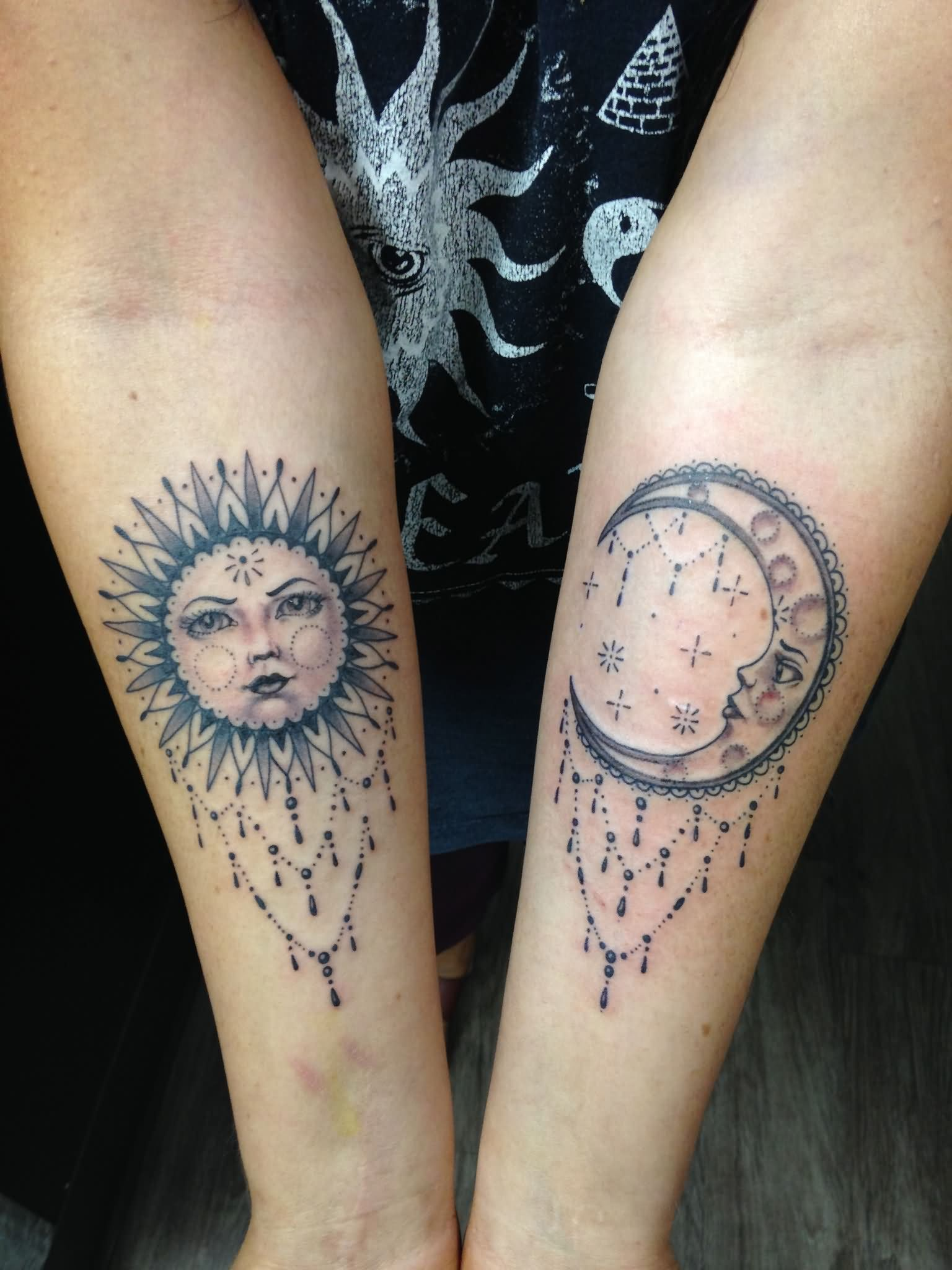 Unique Dotwork Sun And Half Moon Tattoo On Both Forearm