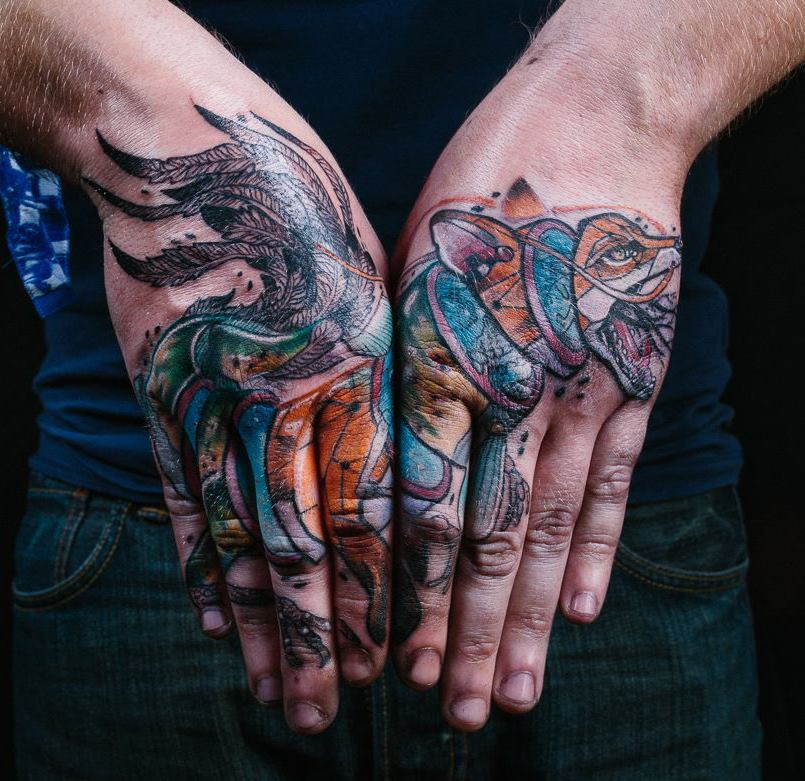 Unique Fox Tattoo On Both Hand