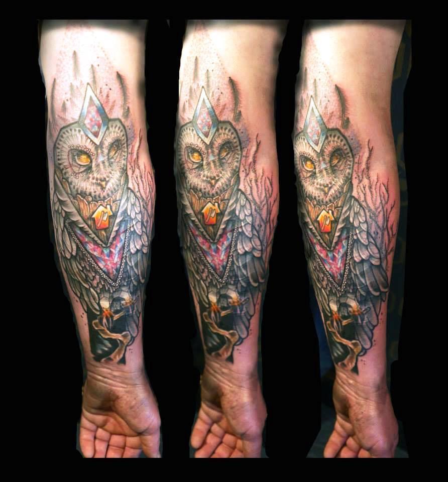 Unique Owl Tattoo On Forearm