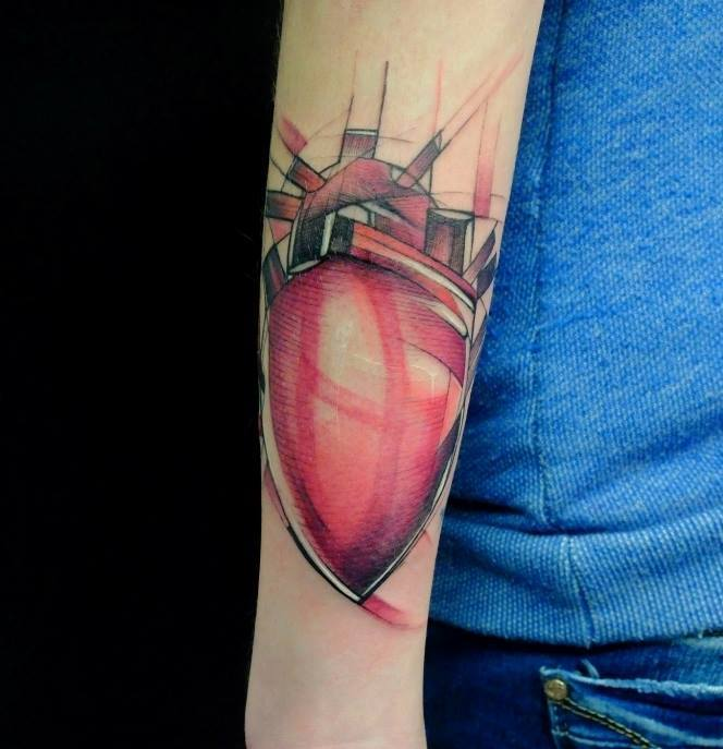Unique Real Heart Tattoo On Right Arm By Jan Mraz