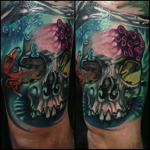 Unique Skull With Crab Tattoo On Right Half Sleeve