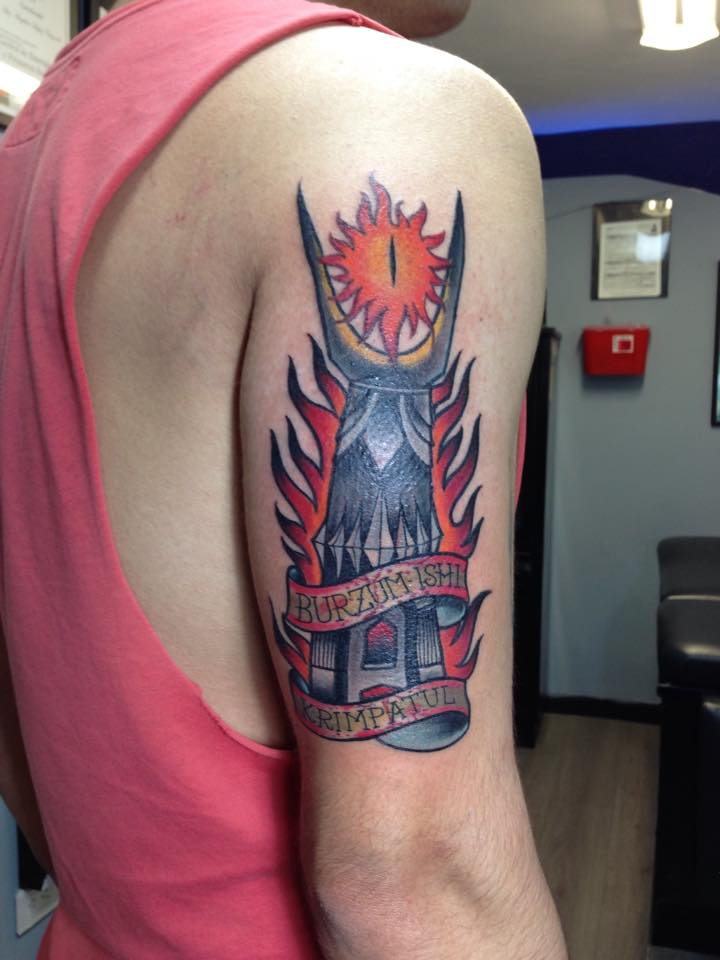 fb4adb6e4 Unique Traditional Lighthouse With Banner Tattoo On Man Right Half Sleeve