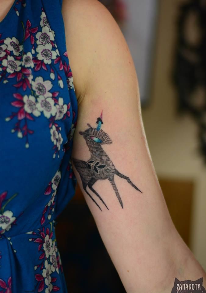 Unique Unicorn Tattoo On Women Left Bicep