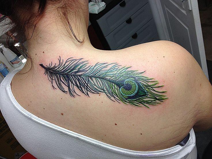 50 beautiful peacock feather tattoos ideas for Peacock back tattoo